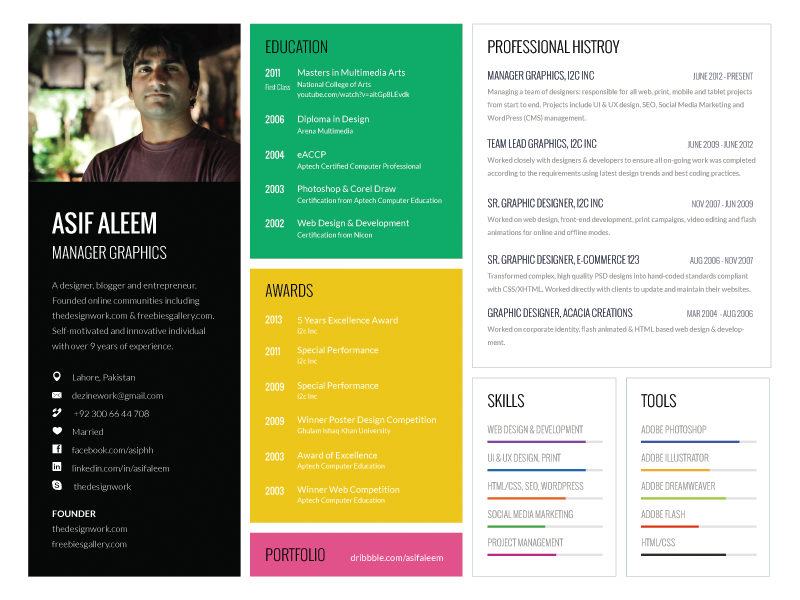 Landscape One Page Resume Template