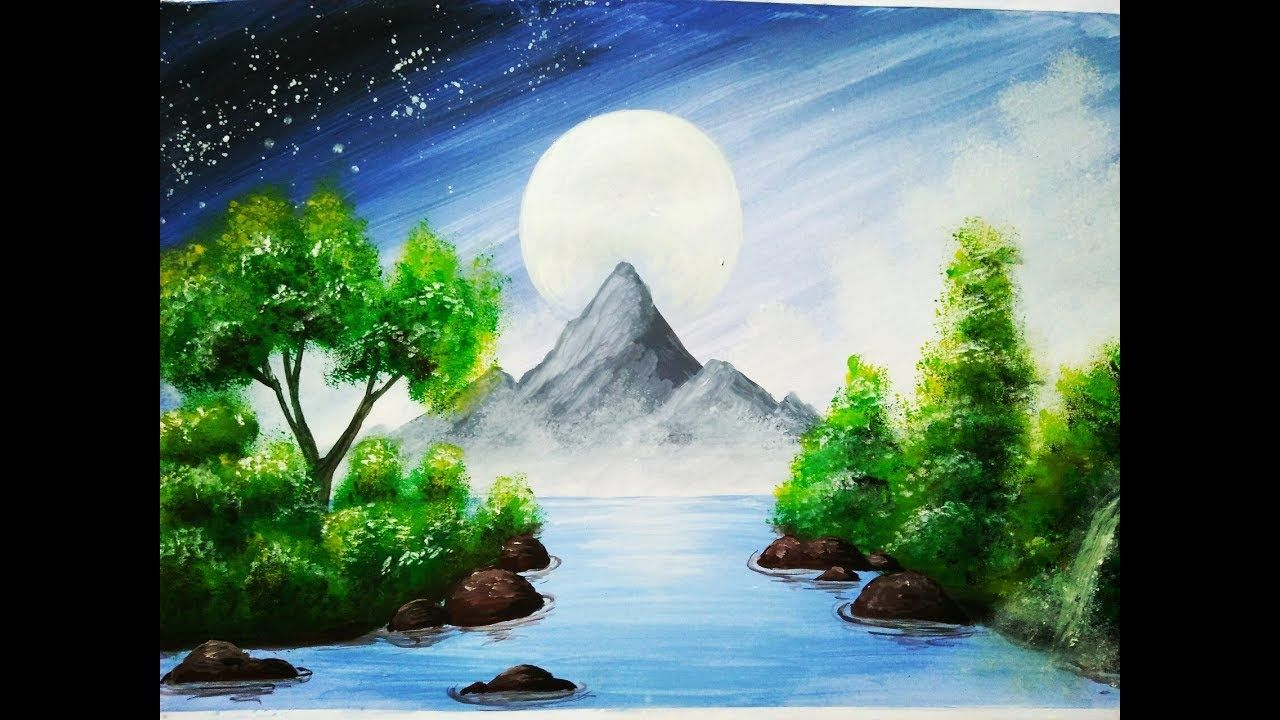 Nature Scenery With Hills Watercolours Scenery Painting