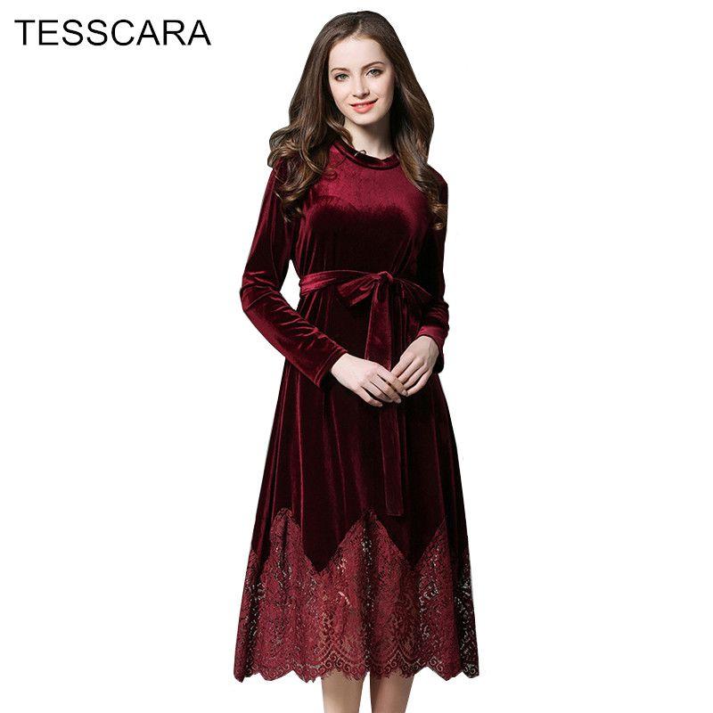 948b44ec39fd4 Women Autumn & Winter Vintage Velvet Dress Female Bodysuit Lace ...