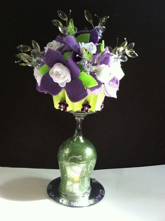 wine glass bouquet | Wine Glass Bouquet in felt flowers of Lime ...