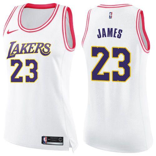 Nike Lakers  23 LeBron James White Pink Women s NBA Swingman Fashion Jersey c3340662c
