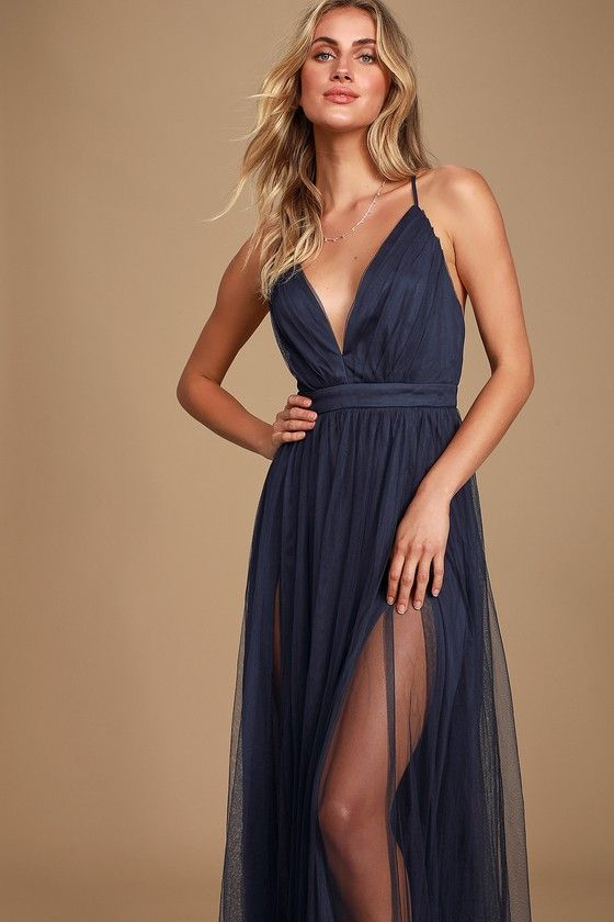 Sexy High Slit Plunging Neck Nude Open Back Prom Dress - VQ