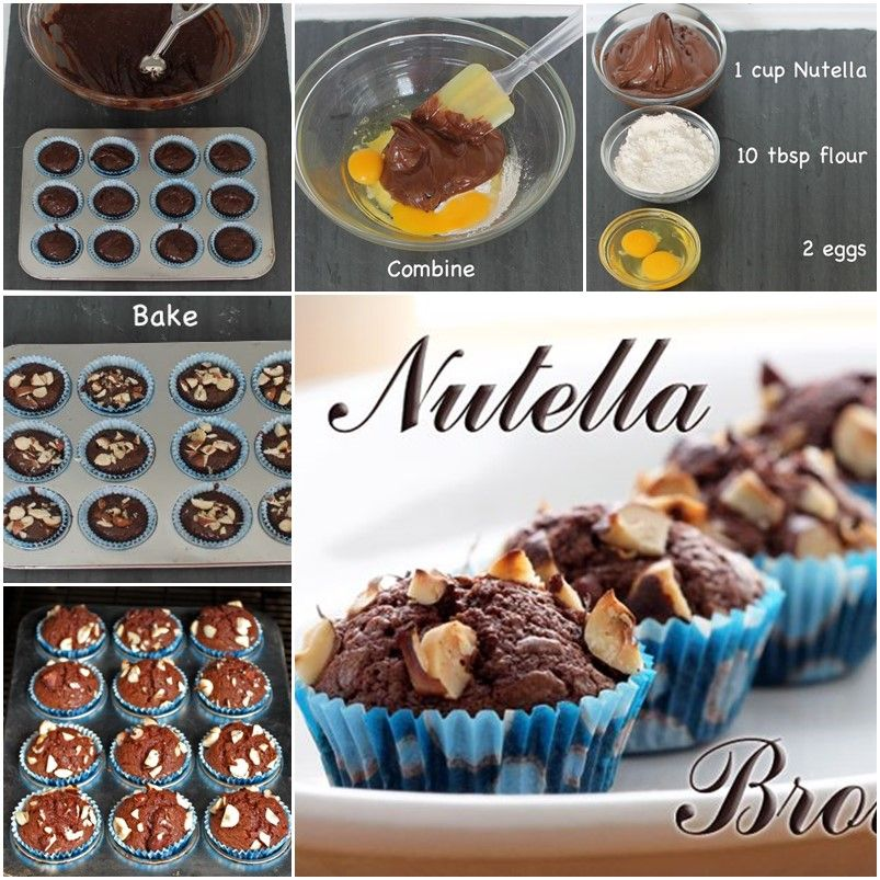 Diy Simple 3 Ingredient Nutella Brownies Receitas Doces Doce