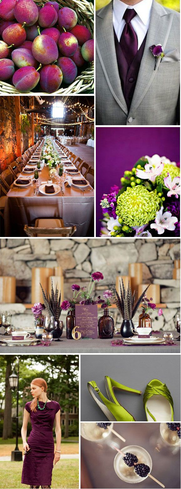 Deep plum and lime for a nonwarm colored fall wedding wedding