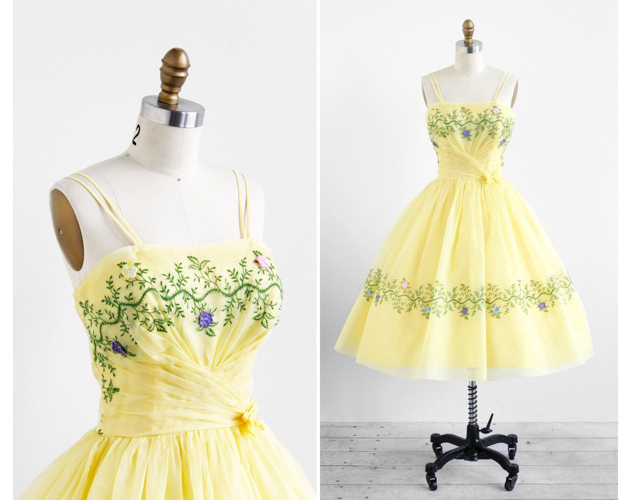 vintage 1950s dress / 50s dress / Yellow Organza Embroidered Garden ...