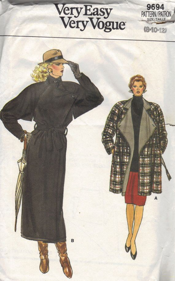 80s Vogue Sewing Pattern Long Trench Coat Raincoat Asymmetric ...