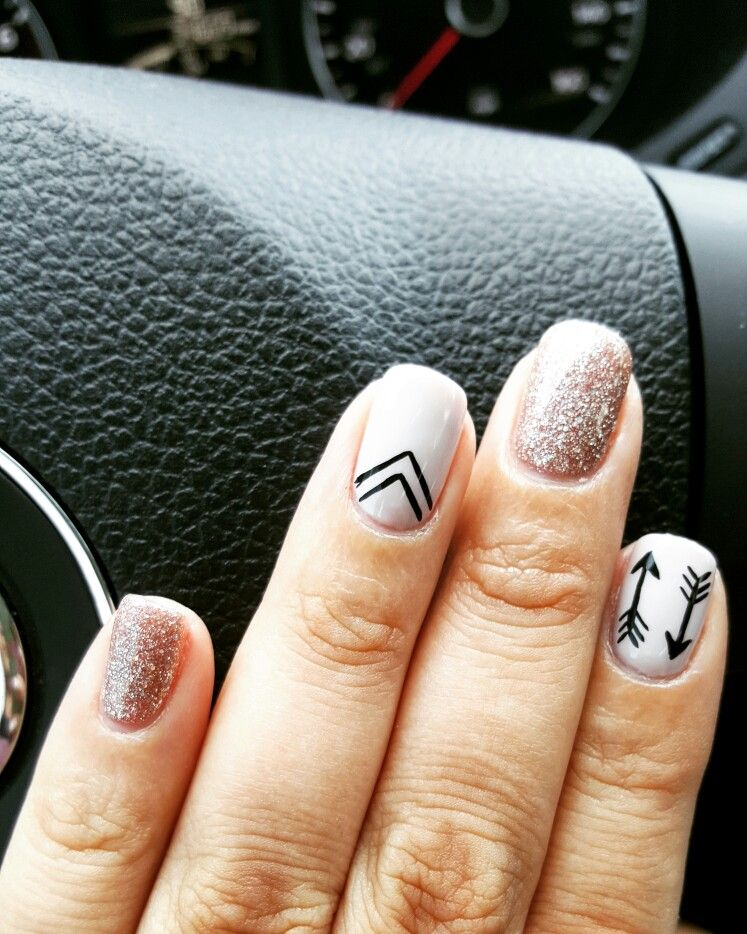 Nail design with accent nails nude glitter and arrows glitter nail design with accent nails nude glitter and arrows prinsesfo Gallery