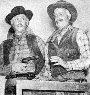 """Behind the mustaches and sideburns are Dean Martin and Jerry Lewis promoting their western comedy """"Pardners"""" ('56 Paramount). Description from westernclippings.com. I searched for this on bing.com/images"""