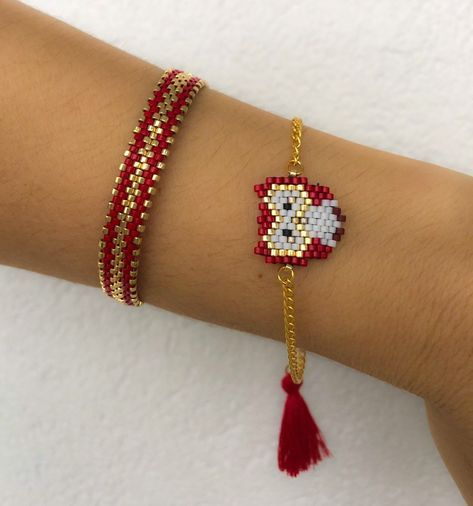 Miyuki beaded red owl bracelet set, unique, stylish, animal bracelet, designed bracelet, chic bracelet for women, gift for girls