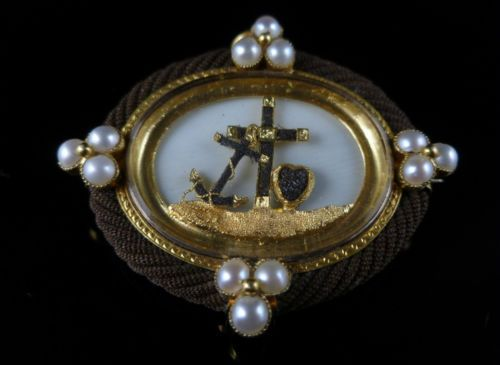 Georgian Faith Hope Charity Special Mourning Pearl Gold Brooch | eBay
