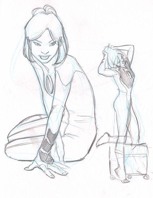 Sue Storm sketches, c. 2004. Ultimate Fantastic Four by Stuart Immonen