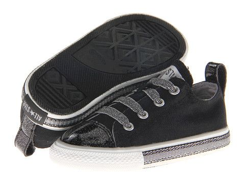 e2d9e7d3739b Converse Kids Chuck Taylor® All Star® Glitter Stretch Lace Slip-Ox  (Infant Toddler) Black Silver - 6pm.com