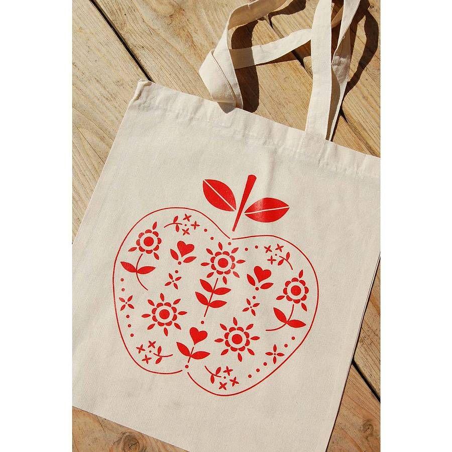 screen printed apple cotton tote bag by rock villa designs