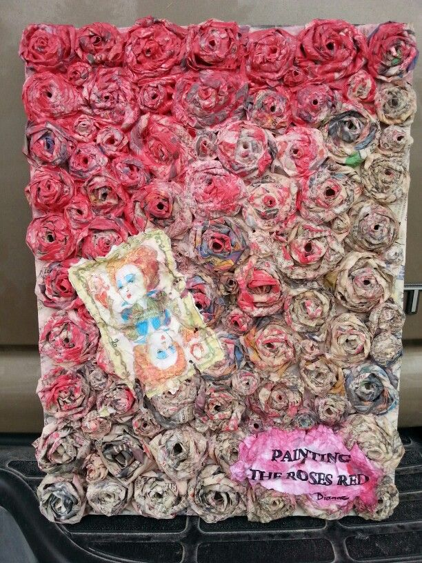 Newspaper Art Painting The Roses Red By Dianne Pearce Newspaper