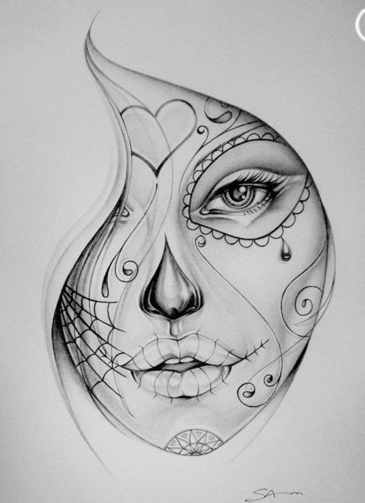 A pencil drawing that very much reminds me of the Day of the Dead celebration. Pretty well done :)