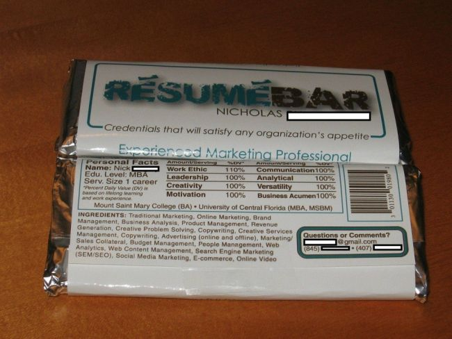 Job-seeker sends out innovative chocolate-wrapper CV PR Examples - bar resume examples