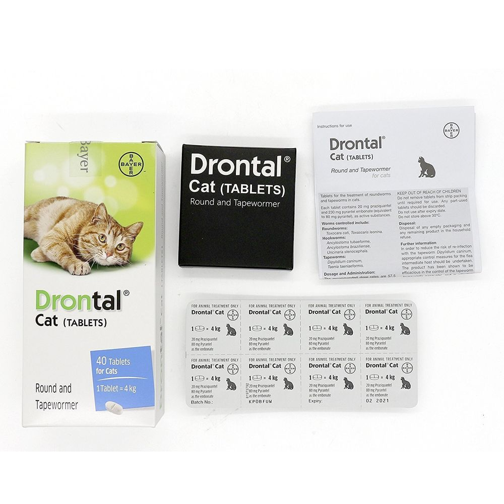 Drontal For Cats Dewormer All Worms Tape And Round Worm