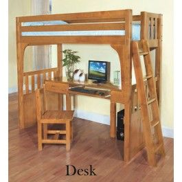 Discovery World Furniture Twin Over Desk Honey Convertible Bunk