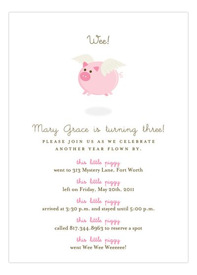 When Pink Pigs Fly Girl birthday and Birthdays - fresh birthday invitation from a kid
