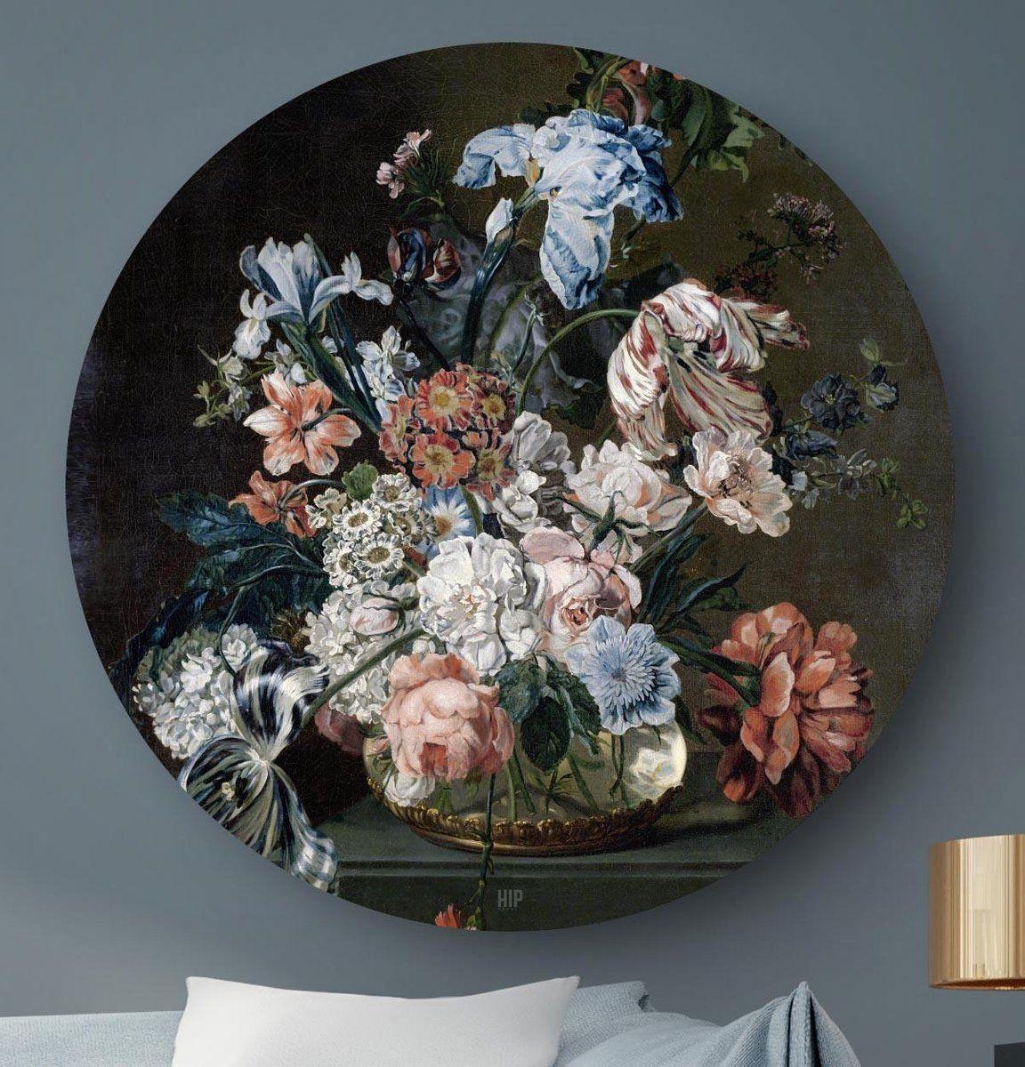 Hip Orgnl Schilderij Stilleven Met Bloemen Van Der Mijn 40cm Wandcirkel In 2021 Schilderij Bloemenschilderijen Bloemen