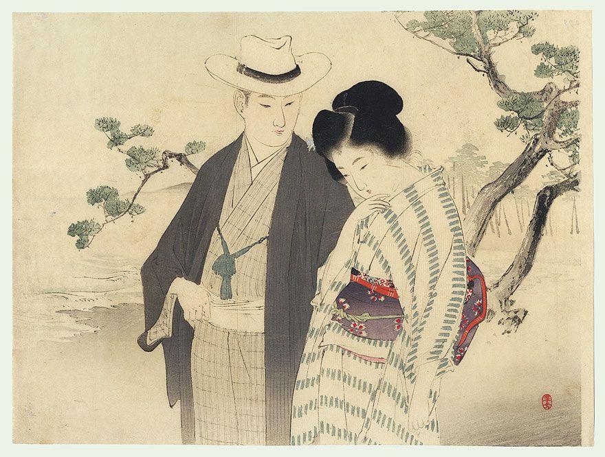 Toshikata (1866 - 1908) Japanese Woodblock Print  Couple on a Beach Kuchi-e Print, 1901