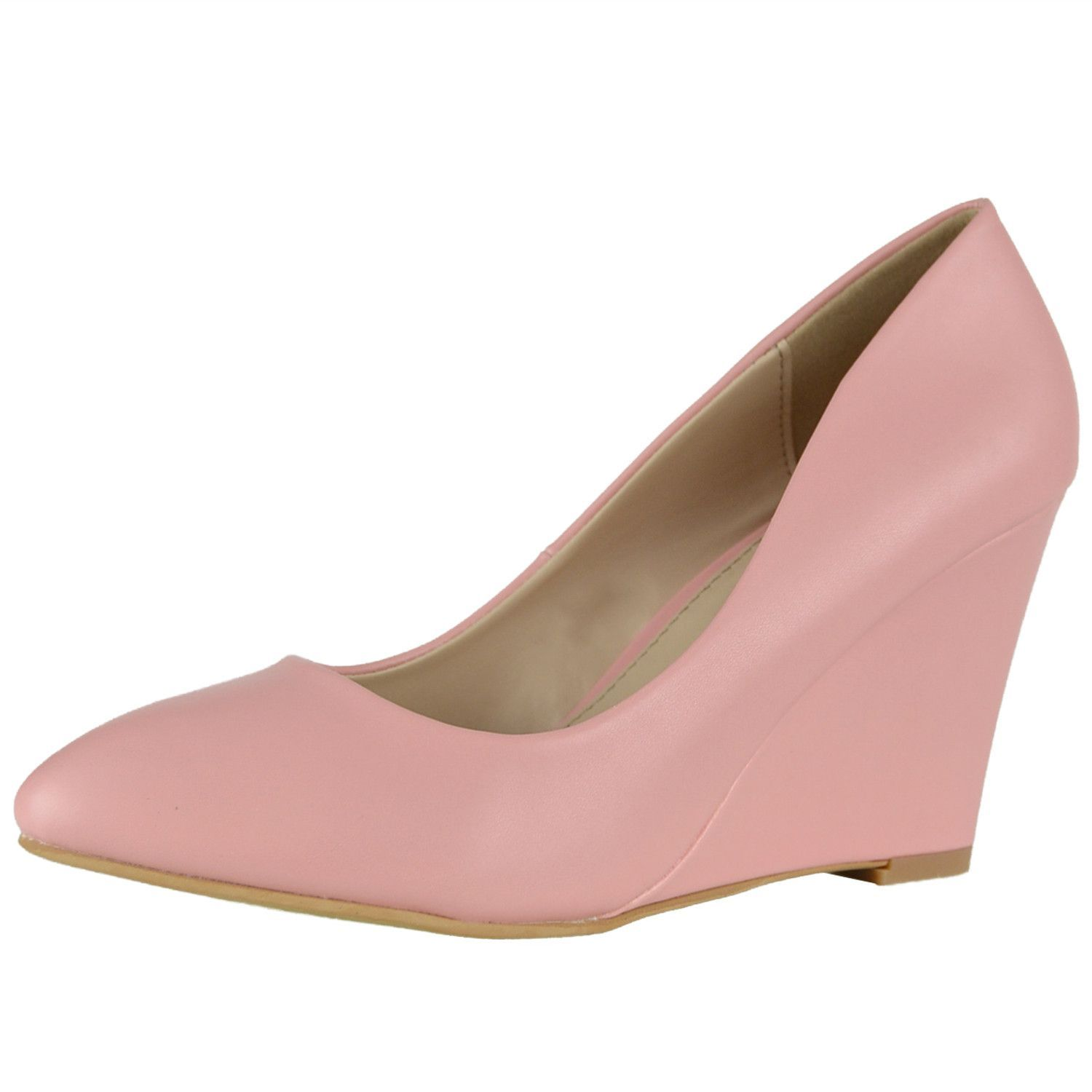 Womens Dress Shoes Almond Toe High Heel Casual Wedges PINK