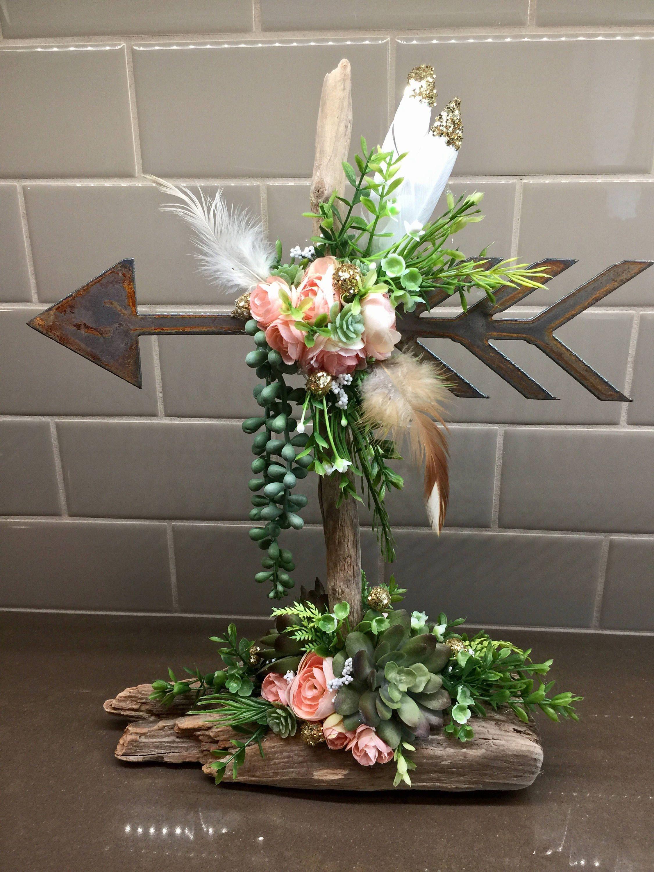 Home wedding decor ideas  Rustic Arrow Succulent centerpiece Boho baby wedding decor baby