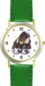 Buy Basset Hound Puppy JP Dog - WATCHBUDDY® DELUXE TWO-TONE THEME WATCH - Arabic Numbers - Green Leather Strap-Children's Size-Small  Buy online and save - http://greatcompareshop.com/buy-basset-hound-puppy-jp-dog-watchbuddy-deluxe-two-tone-theme-watch-arabic-numbers-green-leather-strap-childrens-size-small-buy-online-and-save