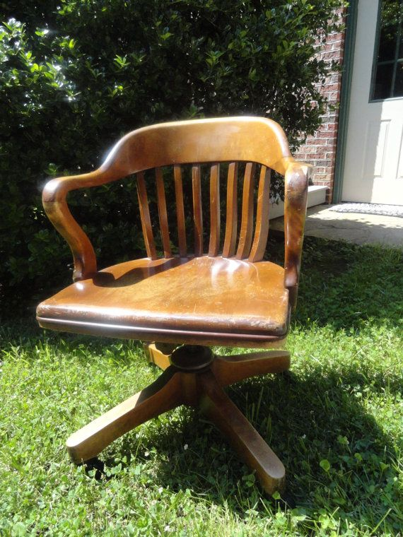 ANTIQUE Oak Desk Chair Swivel Rock Roll Vintage Office - Constantly On The Hunt For A Vintage Oak Swivel Chair Craft Room