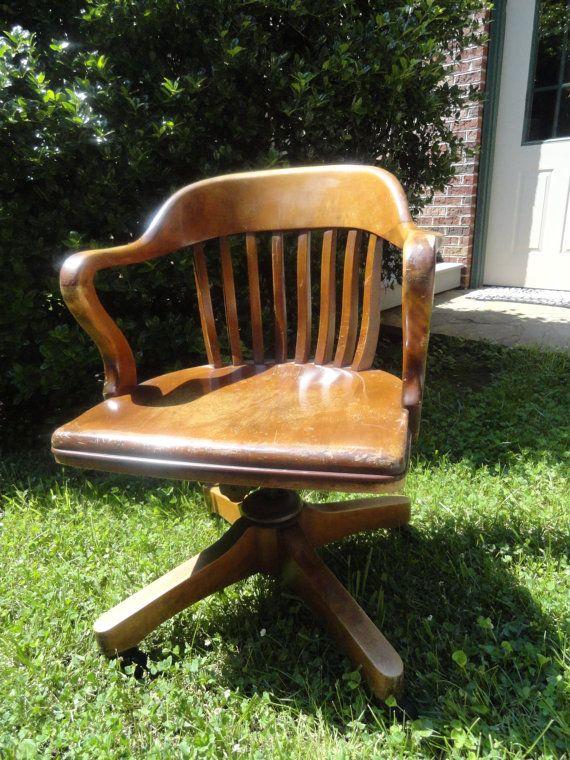 ANTIQUE Oak Desk Chair Swivel Rock Roll Vintage Office - ANTIQUE Oak Desk Chair Swivel Rock Roll Vintage Office Desks