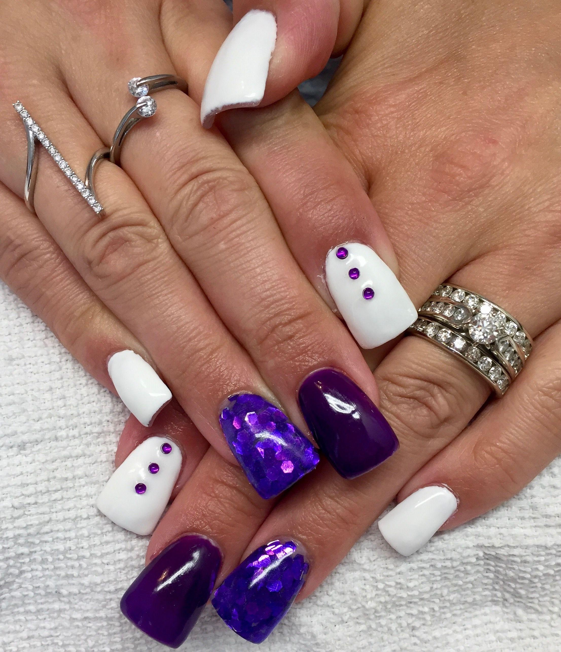 Purple and white glitter nails, large glitter, purple rhinestone ...