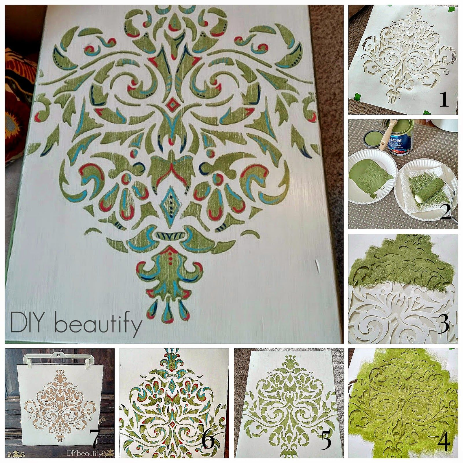 Table Top Stencil Makeover Wwwdiybeautifycom