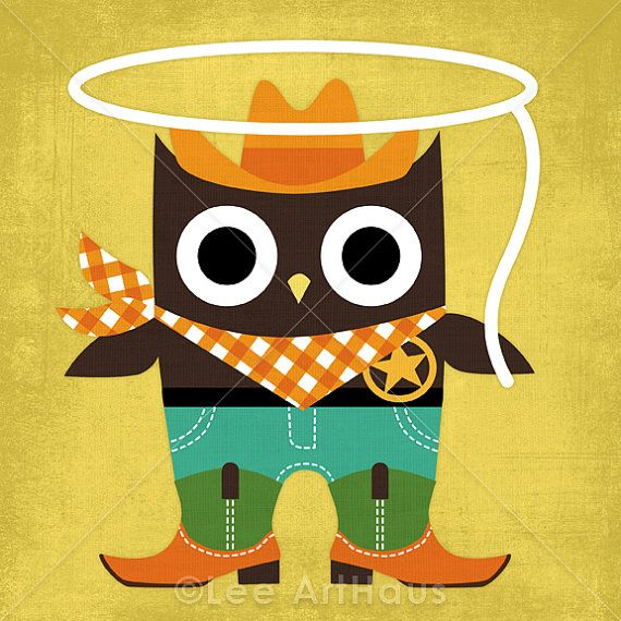 47M Modern Cowboy Owl 6 x 6 Print by leearthaus on Etsy, $15.00