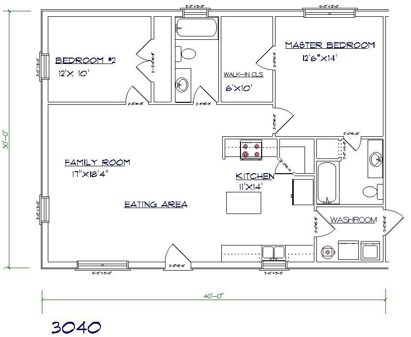 Barndominium Ideas House Plans Floor Plan 2 Bed Bath Change Island Make It Main Place To Ear