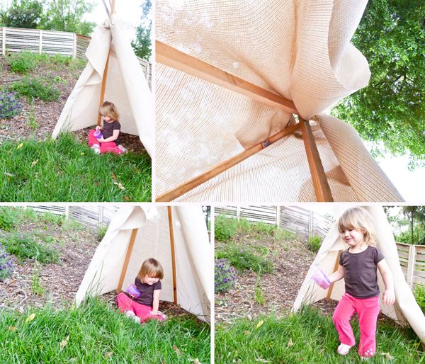 Make a teepee in the garden. For cowboys and indians.
