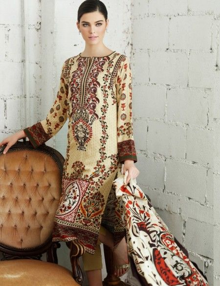 a6f473572 Gul Ahmed Beige Pakistani Woolen Lawn Suit With Pashmina Shawl P52 ...