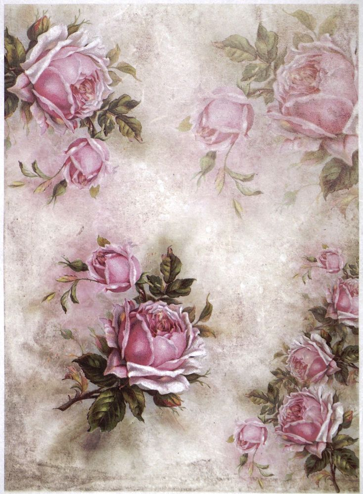 Details About Rice Paper Pink Roses And Shadows For