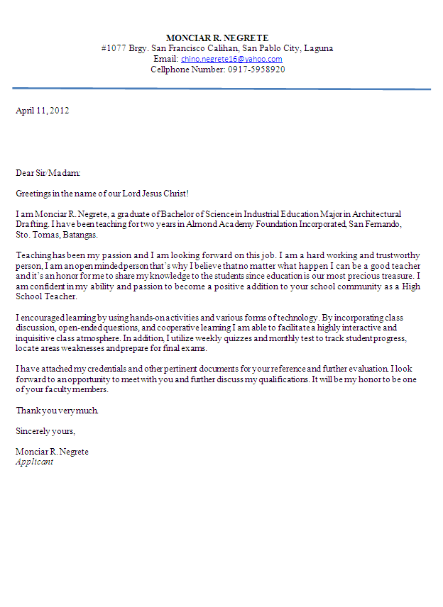 teacher resignation letter to principal