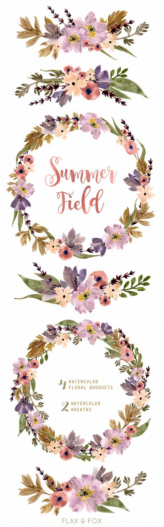 summer field watercolor bouquets wreath hand painted clipart