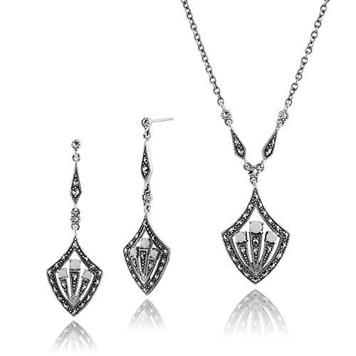 Gemondo 925 Sterling Silver Art Deco Opal & Marcasite Statement Drop Earrings & 45cm Necklace Set
