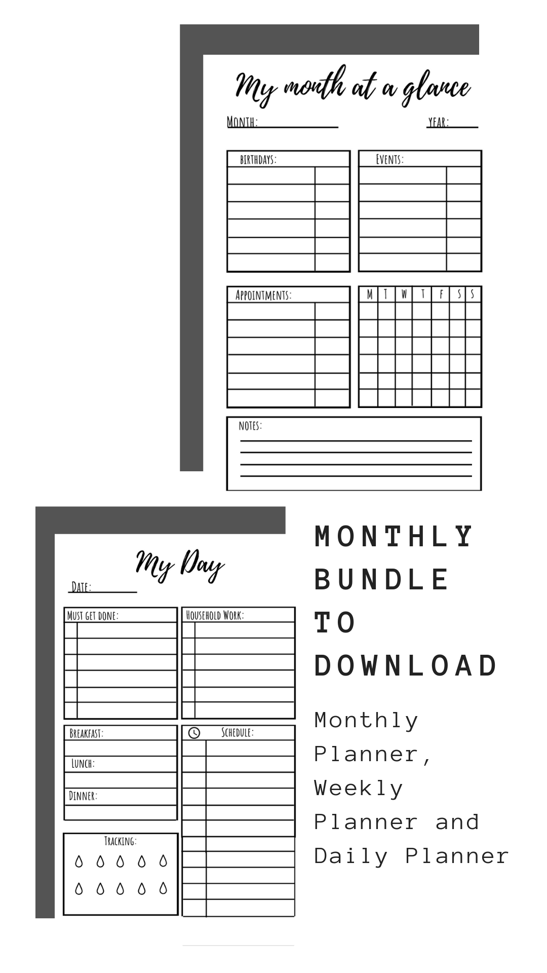 Monthly Set Printables Black And White Theme Monthly