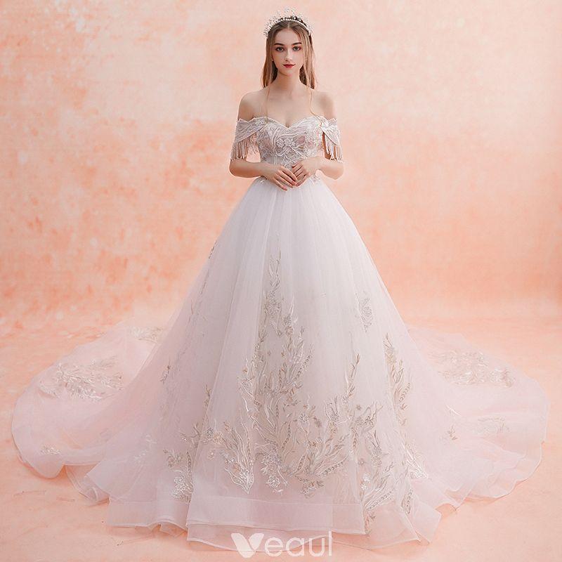 Elegant White Wedding Dresses 2019 A Line Princess Off The Shoulder Beading Tassel Lace Flower Short Sleeve Backless Royal Train Co Dau Dress Outfits Thời Trang Nữ