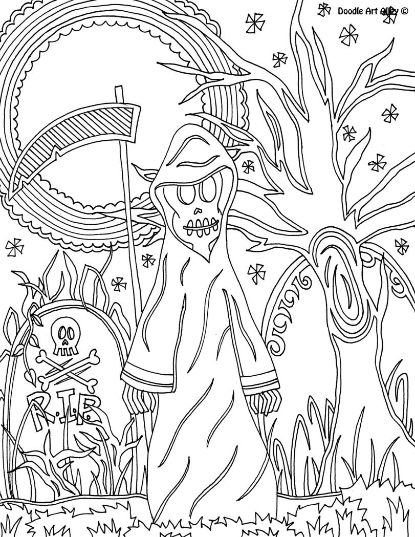 Halloween Coloring Sheet Grim Reaper