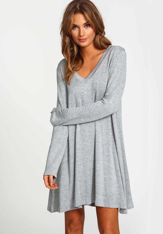 Shop Grey V Neck Long Sleeve Loose Dress online. Sheinside ...