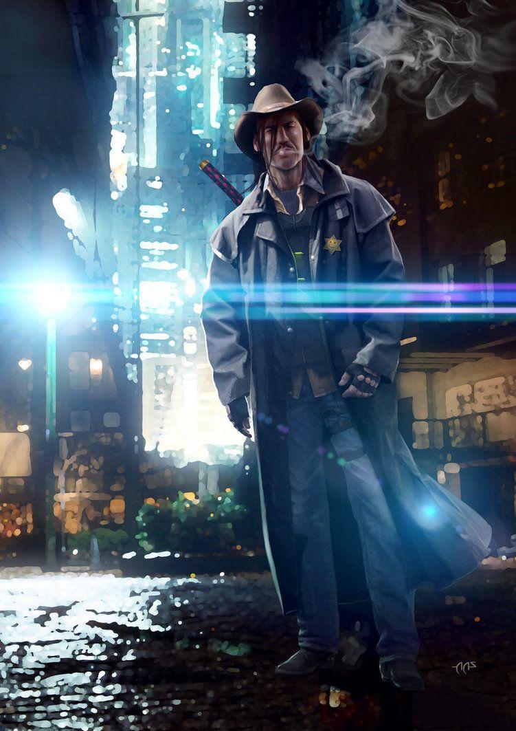 SHADOWRUN Cyberpunk Cowboy by raben-aas deviantart com on