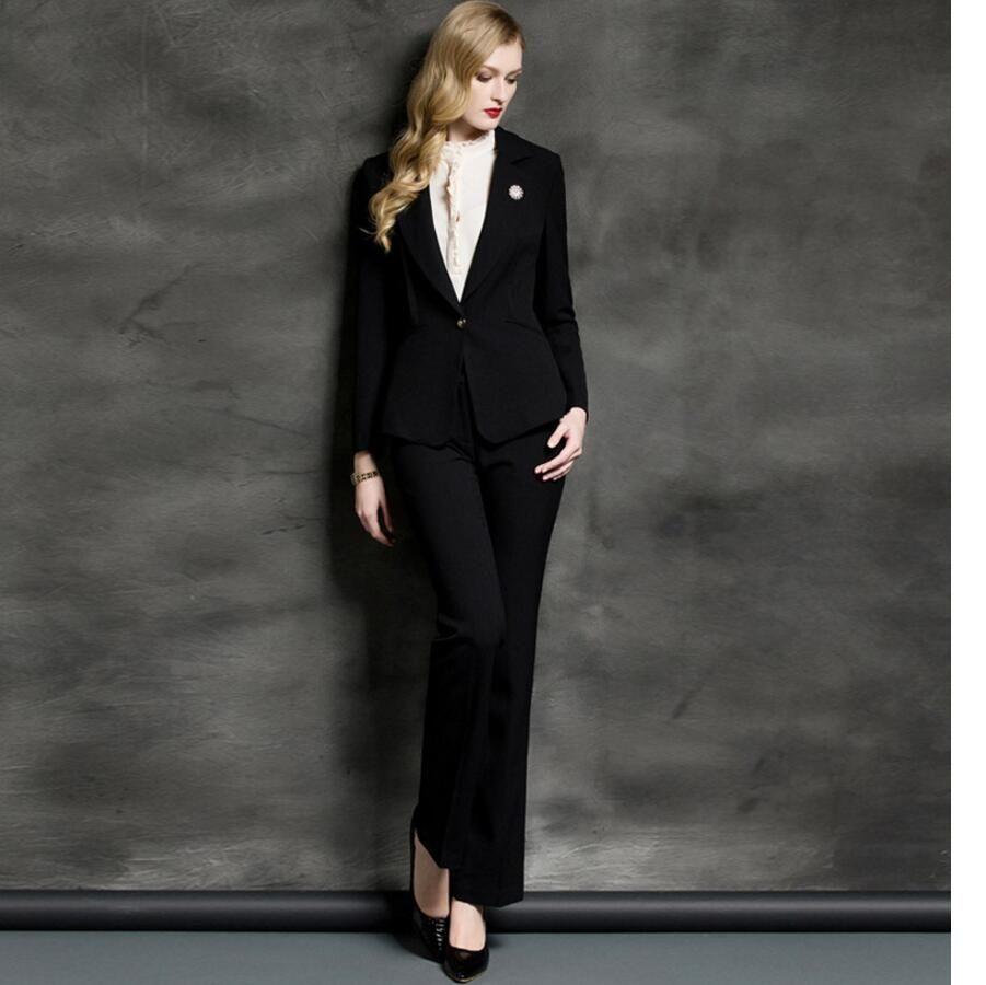 287db9b7f8d2 Women Pant Suits western style black jacket + pants high-end custom OL  professional ladies