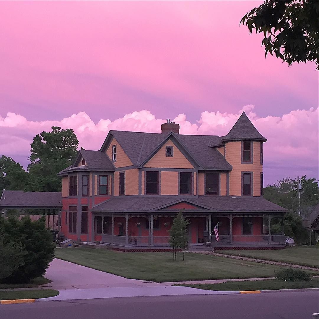 #nofilter what a beautiful sky tonight! It really was the shade of pink/purple. This is the view from our front porch  #fultonmo by 1canoe2beth