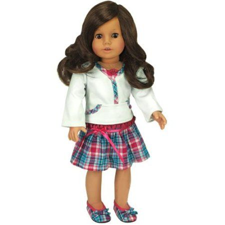 "Amazon.com : Hot Pink & Teal Skirt & White Lace Trim Top, Fits 18"" American Girl Dolls : Fashion Doll Clothing : Toys & Games"