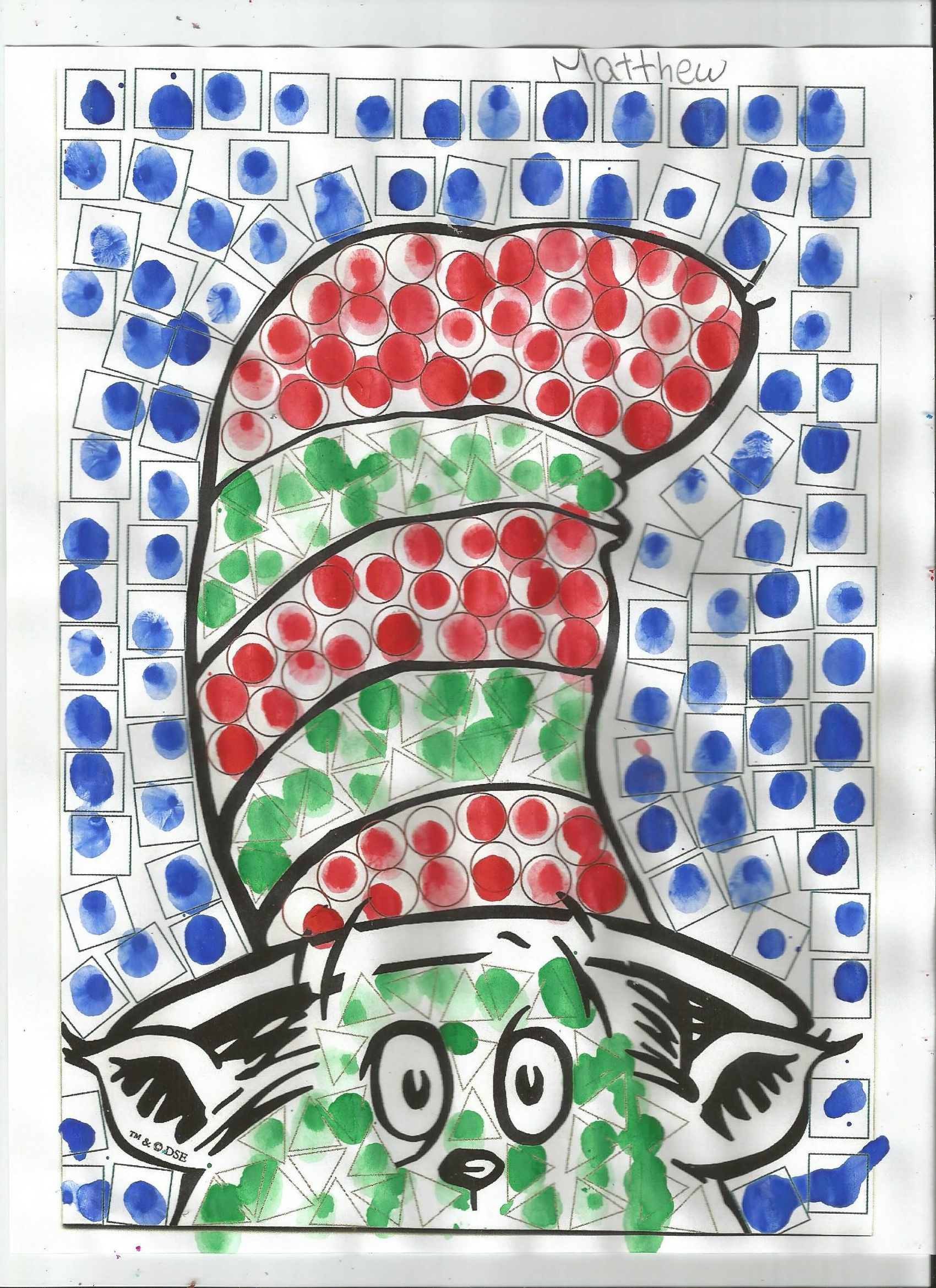 Cat In The Hat Finger Painting