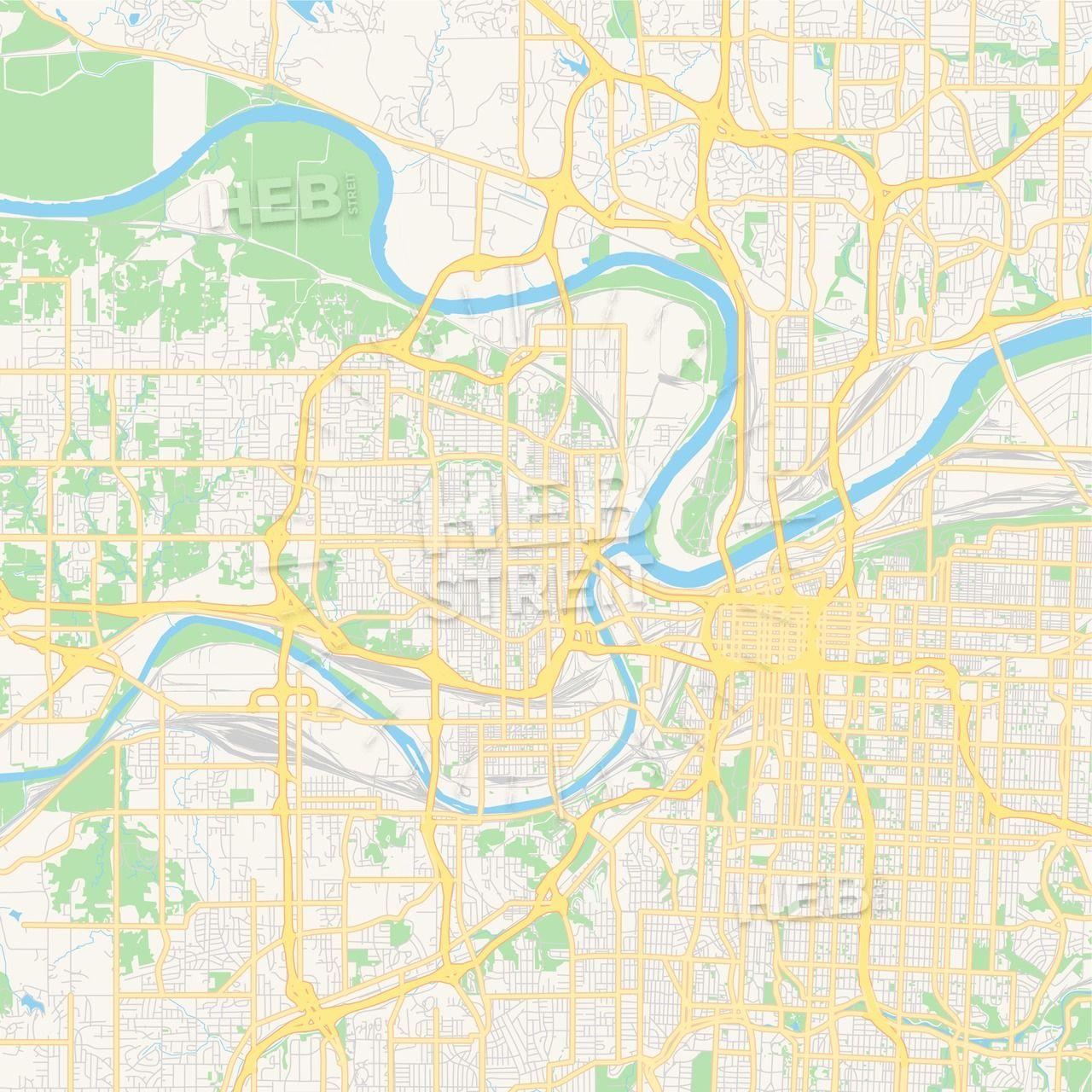 Empty vector map of Kansas City, Kansas, USA | Maps Vector ...